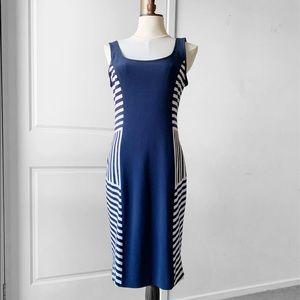 JOSEPH RIBKOFF Women's Navy Striped Midi Dress